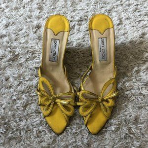 JIMMY CHOO Heels Yellow Leather Butterfly Wedges